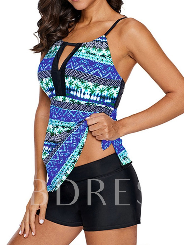Color Block Printing Swimwear Top Sexy Women's Swimwear