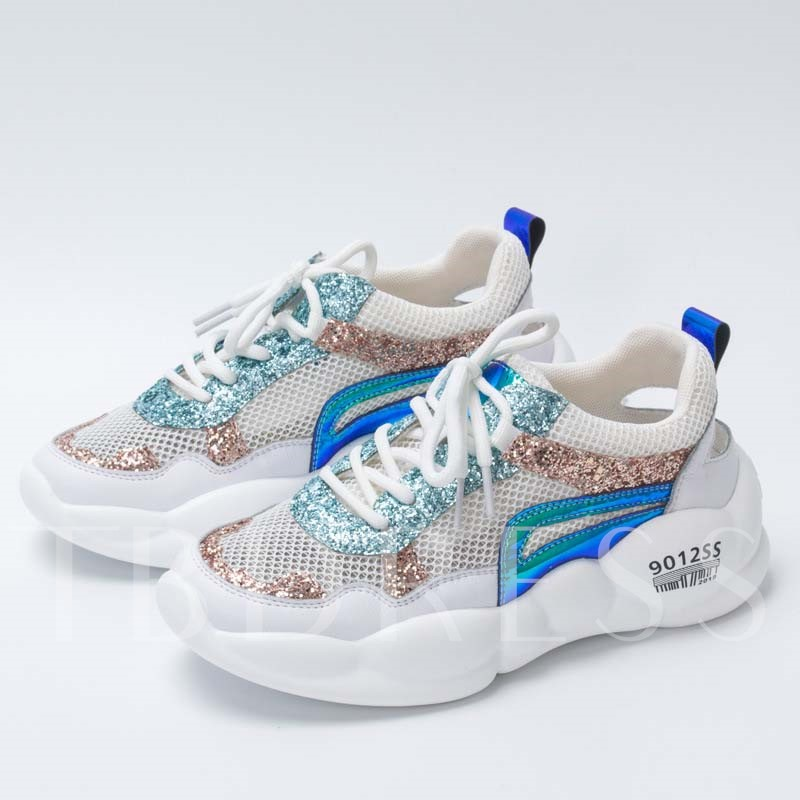 Round Toe Lace-Up Glitter Women's Sneakers
