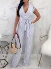 Backless Full Length Stripe Party/Cocktail High Waist Women's Jumpsuit