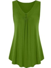 Polyester Summer Suspenders Pleated Mid-Length Women's Tank Top