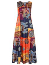 Ankle-Length Print V-Neck Sleeveless Women's Maxi Dress