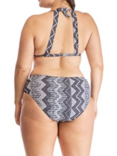 Plus Size Color Block Sexy Tankini Set Lace-Up Women's Swimwear