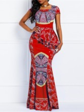 Square Neck Cap Sleeve Print Casual Women's Maxi Dress