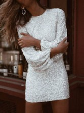 Round Neck Sequins Plain Women's Long Sleeve Dress