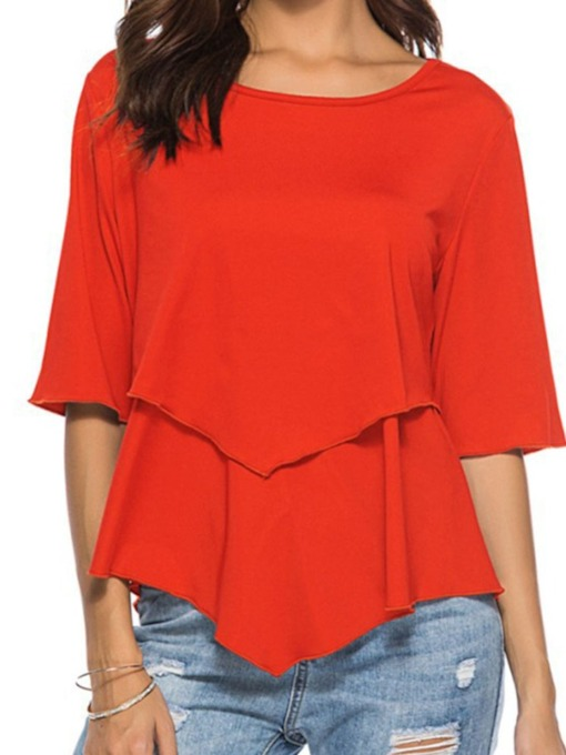 Plain Mid-Length Round Neck Three-Quarter Sleeve Casual Women's T-Shirt