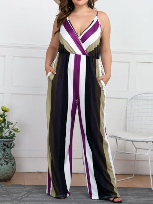 Print Stripe Party/Cocktail Full Length Loose Women's Jumpsuit