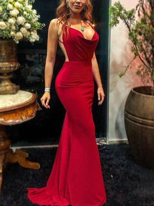 Spaghetti Straps Draped Backless Red Evening Dress 2019