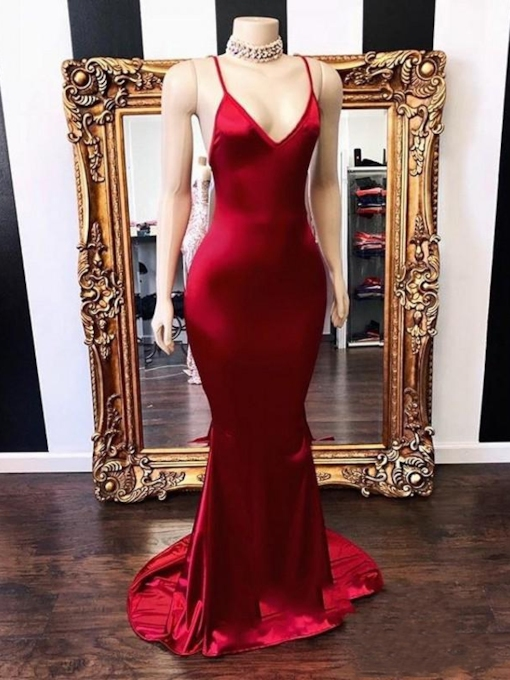Spaghetti Straps Sweep Train Floor-Length Trumpet Evening Dress 2019