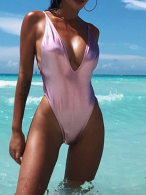 Sexy One-Piece Plain Women's Swimwear