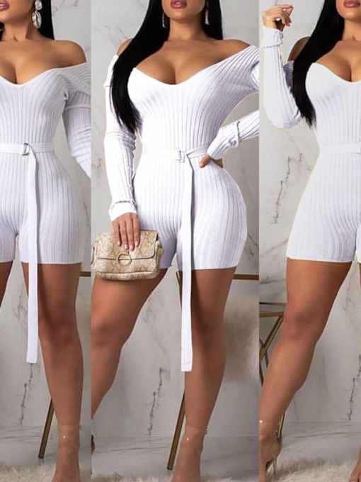 Shorts Fashion Belt Plain High Waist Women's Romper