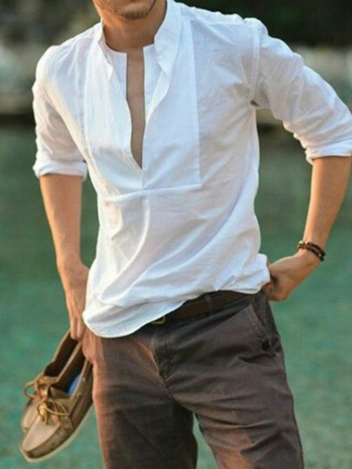 Solid Color Long-Sleeved Round Neck Casual Shirt Plain Slim Men's Shirt