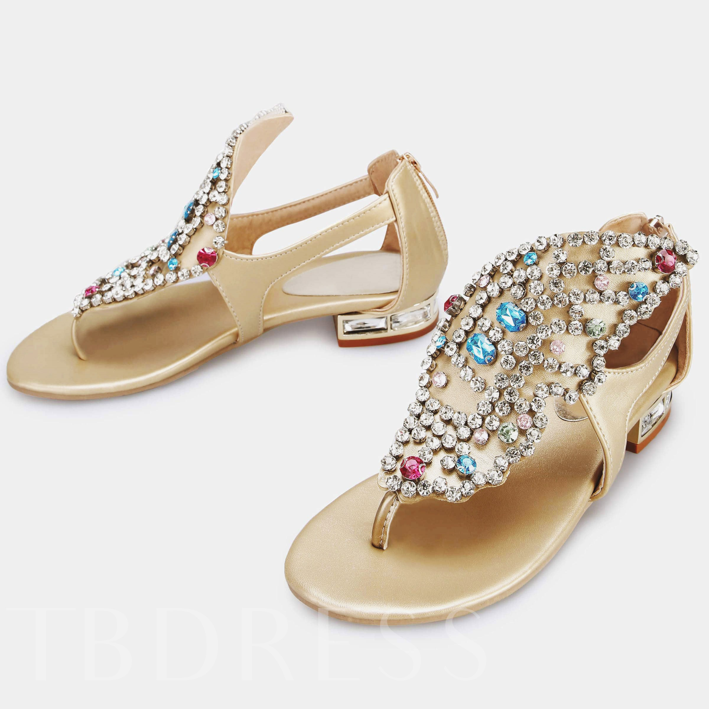 Rhinestone Flat With Women's Thong Sandals