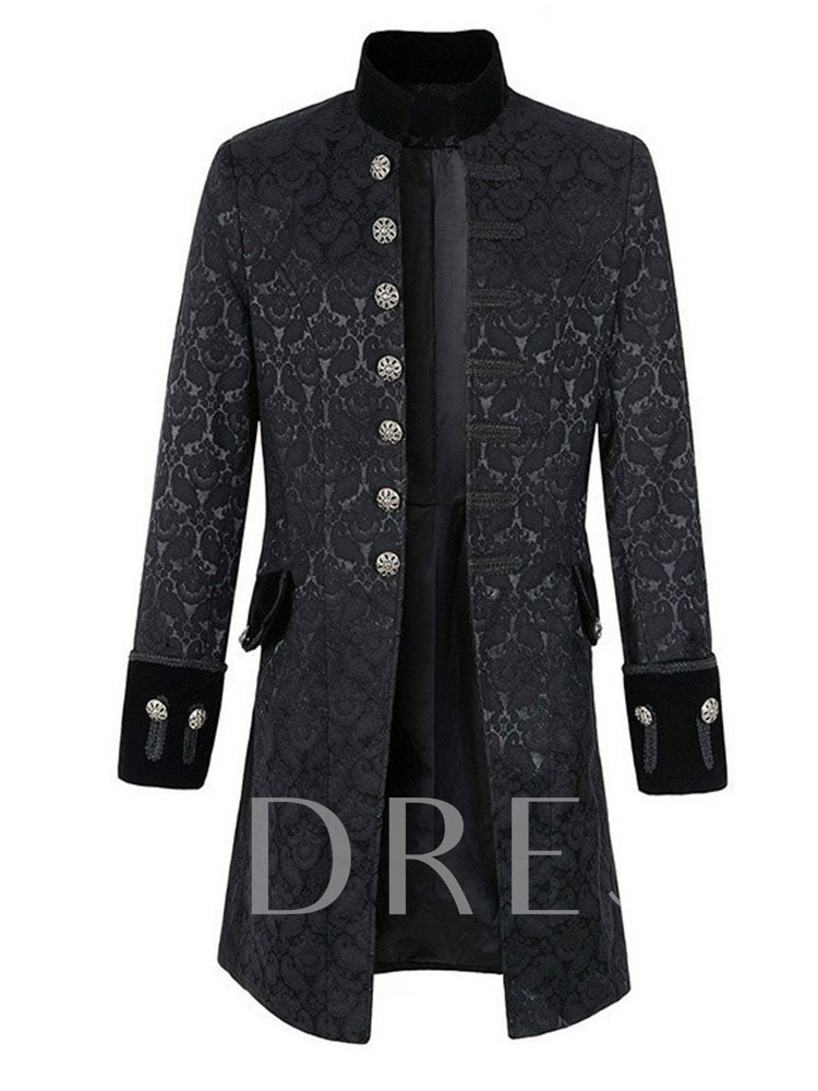 Stand Collar Plain Long Button Single-Breasted Men's Trench Coats