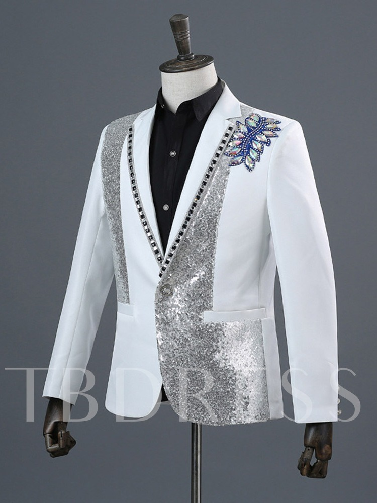Slim-Fit Color Diamond Suit Pants Zipper One Button Fashion Host Dress Singer Men's Dress Suit