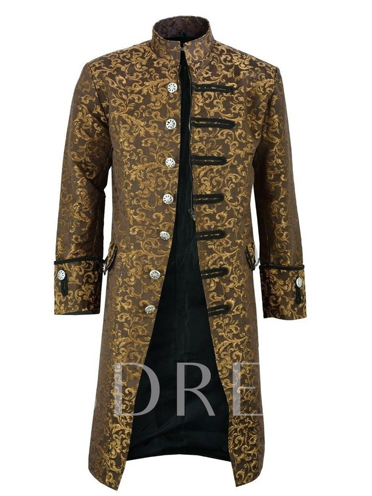 Color Block Long Stand Collar Yarn Dyed Single Men's Trench Coat