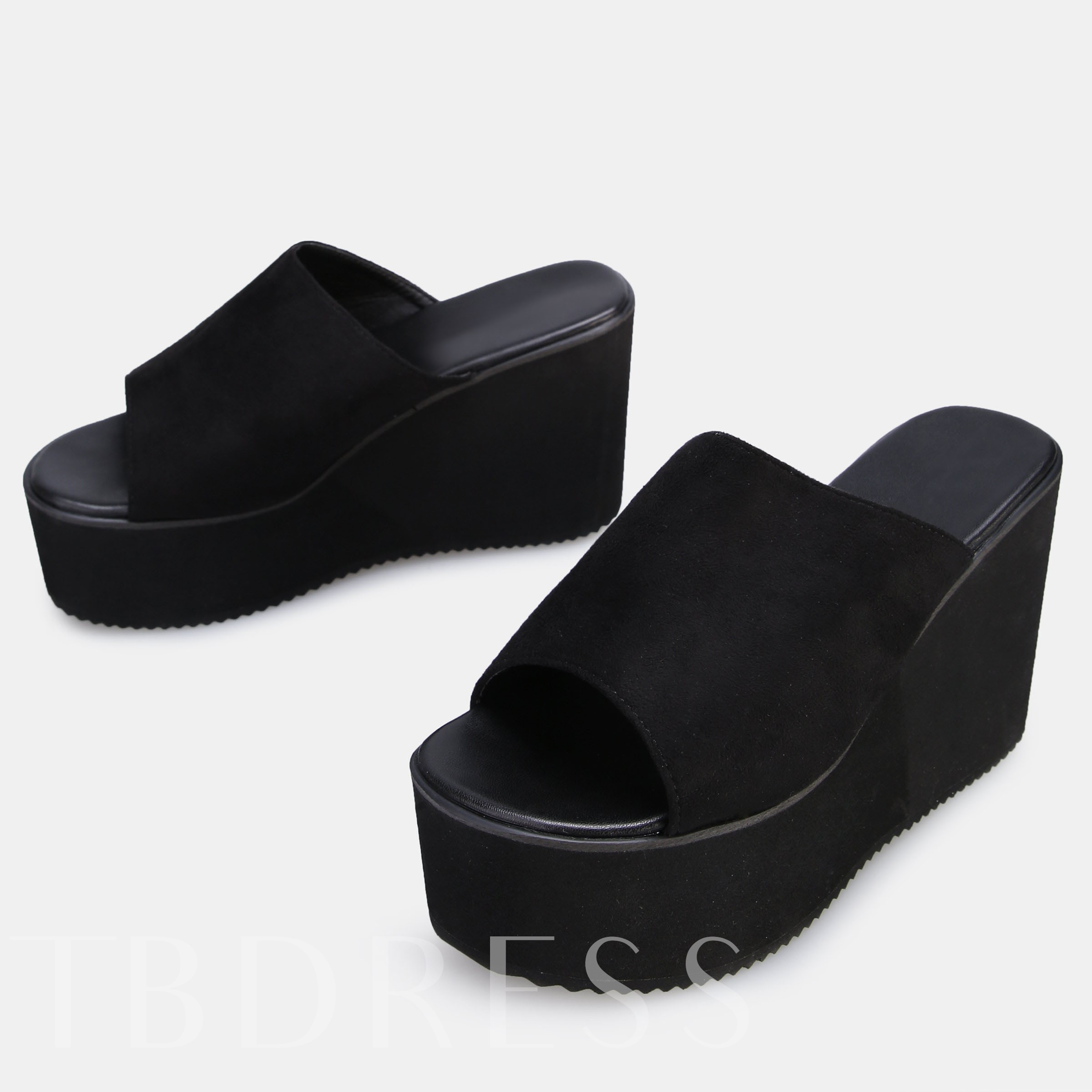 Peep Toe Slip-On Wedge Heel Platform Women's Flat Sandals