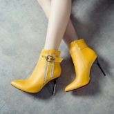 Side Zipper Pointed Toe Stiletto Heel Short Floss Ankle Boots