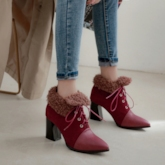Lace-Up Front Patchwork Chunky Heel Pointed Toe Ankle Boots