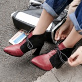 Color Block Chunky Heel Pointed Toe Lace-Up Serpentine Ankle Boots