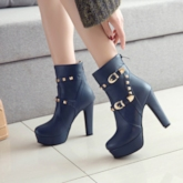 Round Toe Back Zip Chunky Heel Platform Ankle Boots