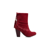 Round Toe Patchwork Chunky Heel Lace-Up Back Ankle Boots