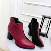 Chunky Heel Pointed Toe Side Zipper Serpentine Ankle Boots