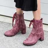 Plain Chunky Heel Side Zipper Round Toe Ankle Boots