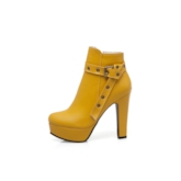 Round Toe Side Zipper Chunky Heel Platform Ankle Boots