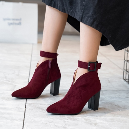 Pointed Toe Buckle Side Zipper Chunky Heel Ankle Boots