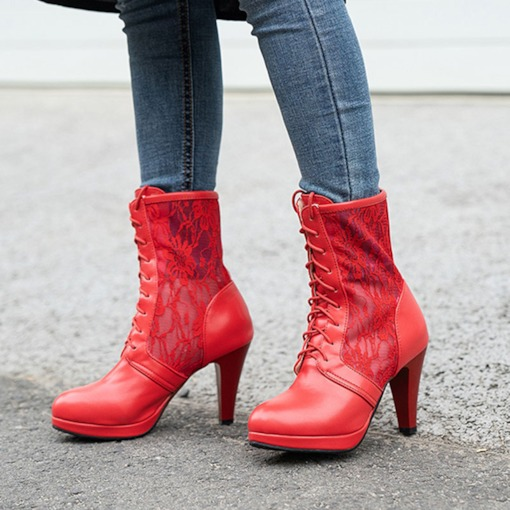 Chunky Heel Round Toe Plain Lace-Up Front Lace Hollow Boots