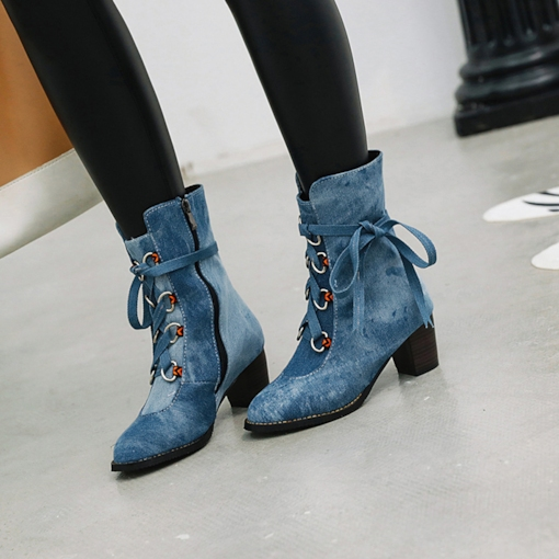 Denim Round Toe Side Zipper Chunky Heel Women's Ankle Boots