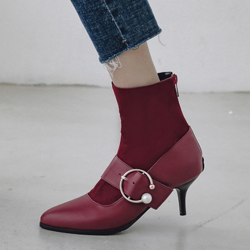 Back Zip Stiletto Heel Pointed Toe Fashion Women's Ankle Boots