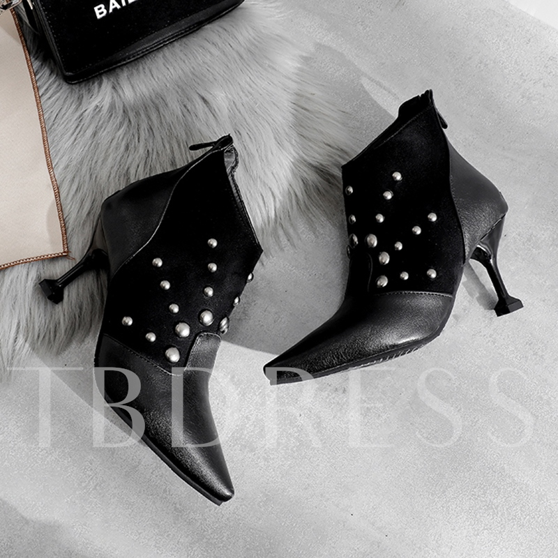 Back Zip Stiletto Heel Plaid Pointed Toe Rivet Ankle Boots
