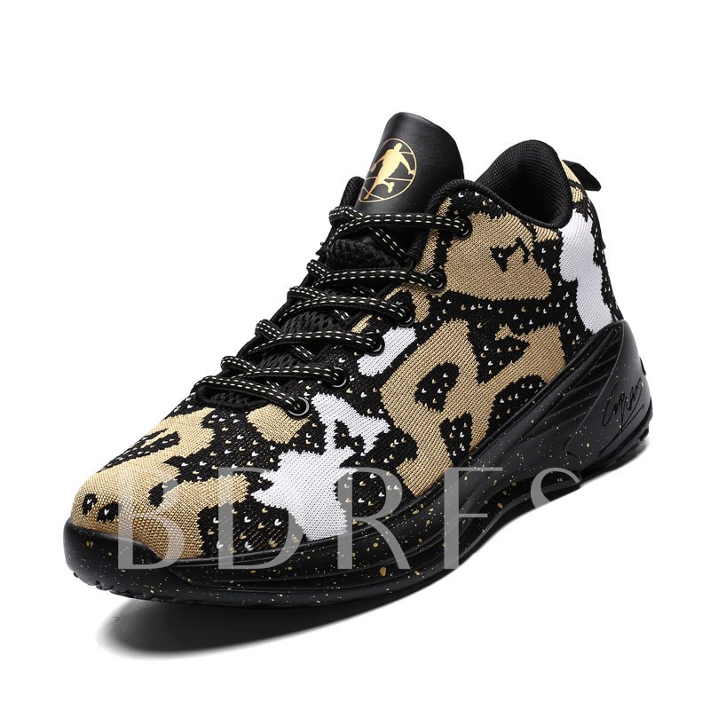 Sports Lace-Up Color Block Round Toe Men's Sneakers