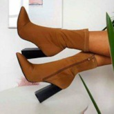 Pointed Toe Plain Side Zipper Chunky Heel Ankle Boots