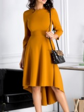 Round Neck Three-Quarter Sleeve Mid-Calf Asymmetric Women's Day Dress