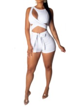 Shorts Sexy Plain Hollow Skinny Women's Jumpsuit