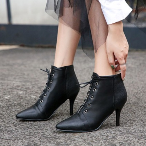 Pointed Toe Stiletto Heel Patchwork Lace-Up Front Ankle Boots