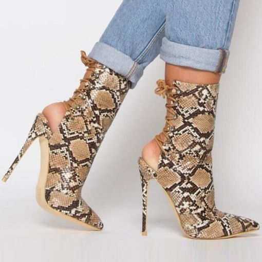 Stiletto Heel Pointed Toe Lace-Up High Top Sandal Boots