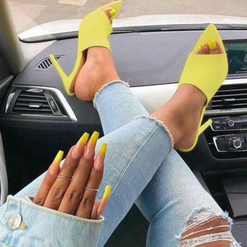Neon Slip-On Stiletto Heel Plain Women's Slippers