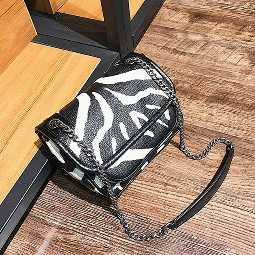 Zebra Stripe Chain PU Rectangle Crossbody Bags