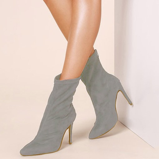 Pointed Toe Back Zip Stiletto Heel Ankle Boots