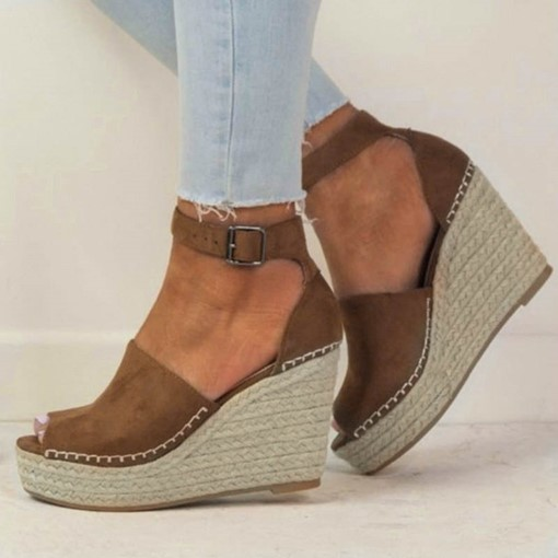 Wedge Heel Heel Covering Peep Toe Espadrille Women's Sandals