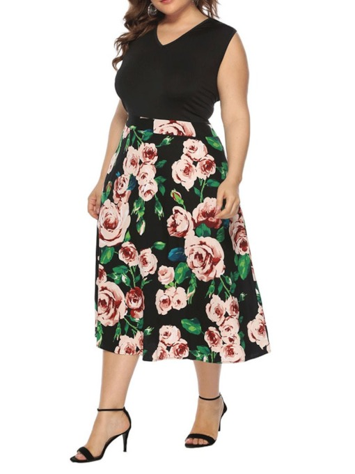 Plus Size V-Neck Sleeveless Print Mid-Calf Sweet Women's Dress