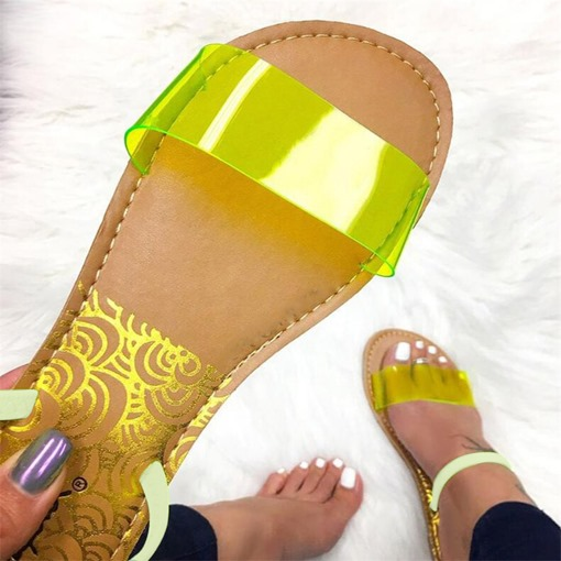 Neon PVC Slip-On Women's Slippers