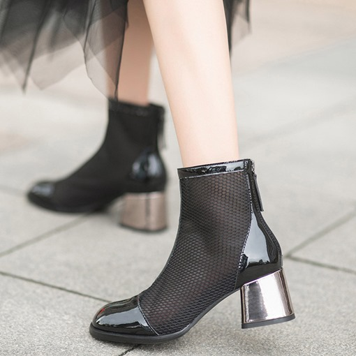 Chunky Heel Round Toe Back Zip Mesh Ankle Boots
