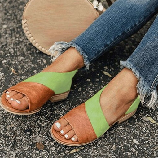 Slip-On Open Toe Heel Covering Patchwork Flat Sandals
