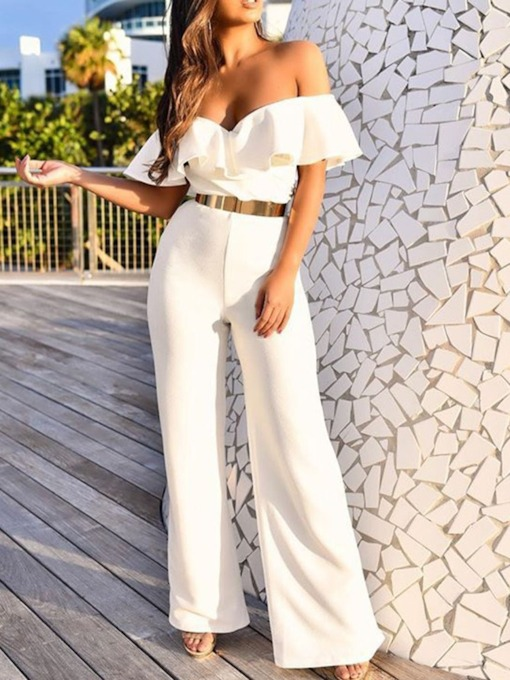Plain Fashion Full Length Wide Legs Women's Jumpsuit