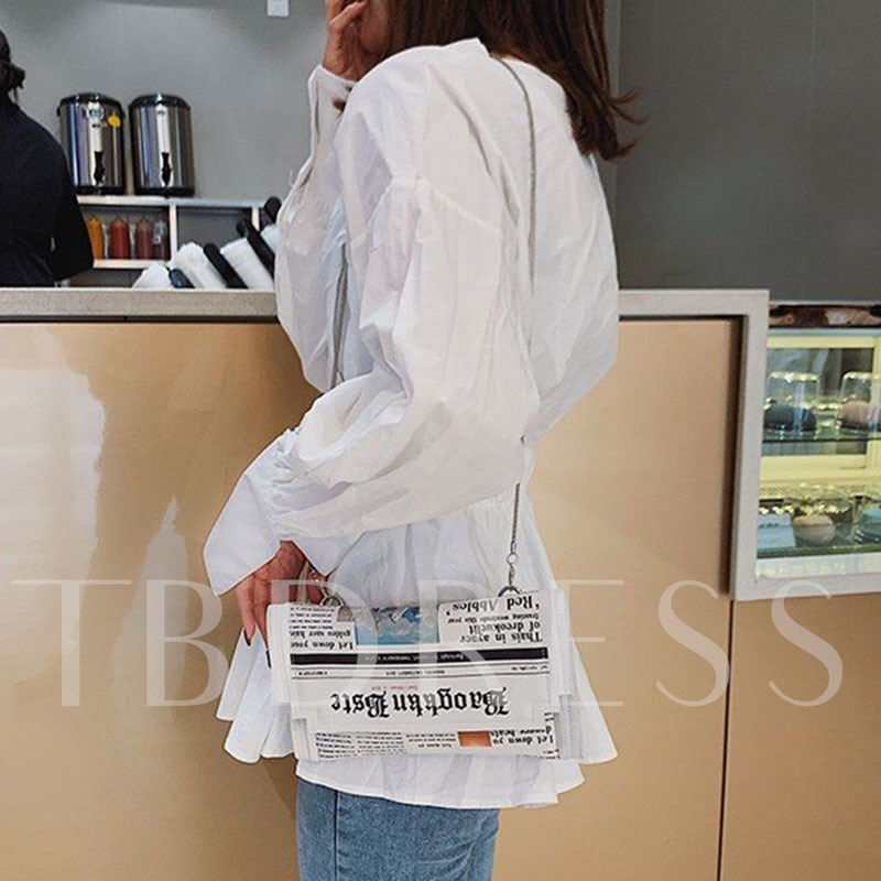 PU Chain Letter Rectangle Crossbody Bags
