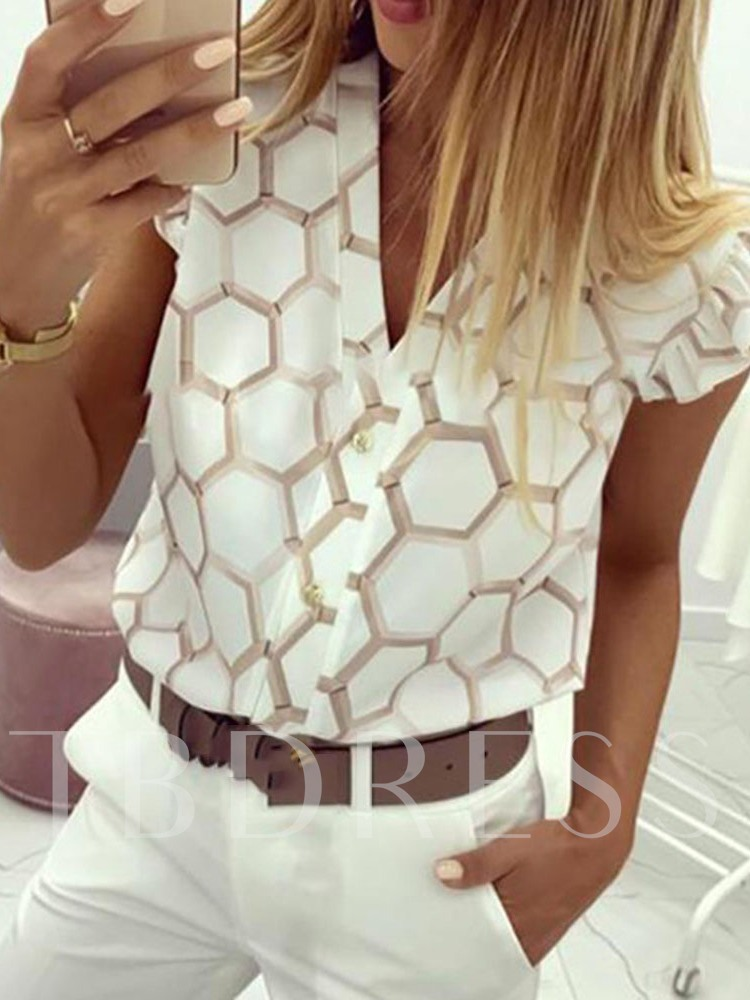 Print Geometric V-Neck Sleeveless Women's Blouse